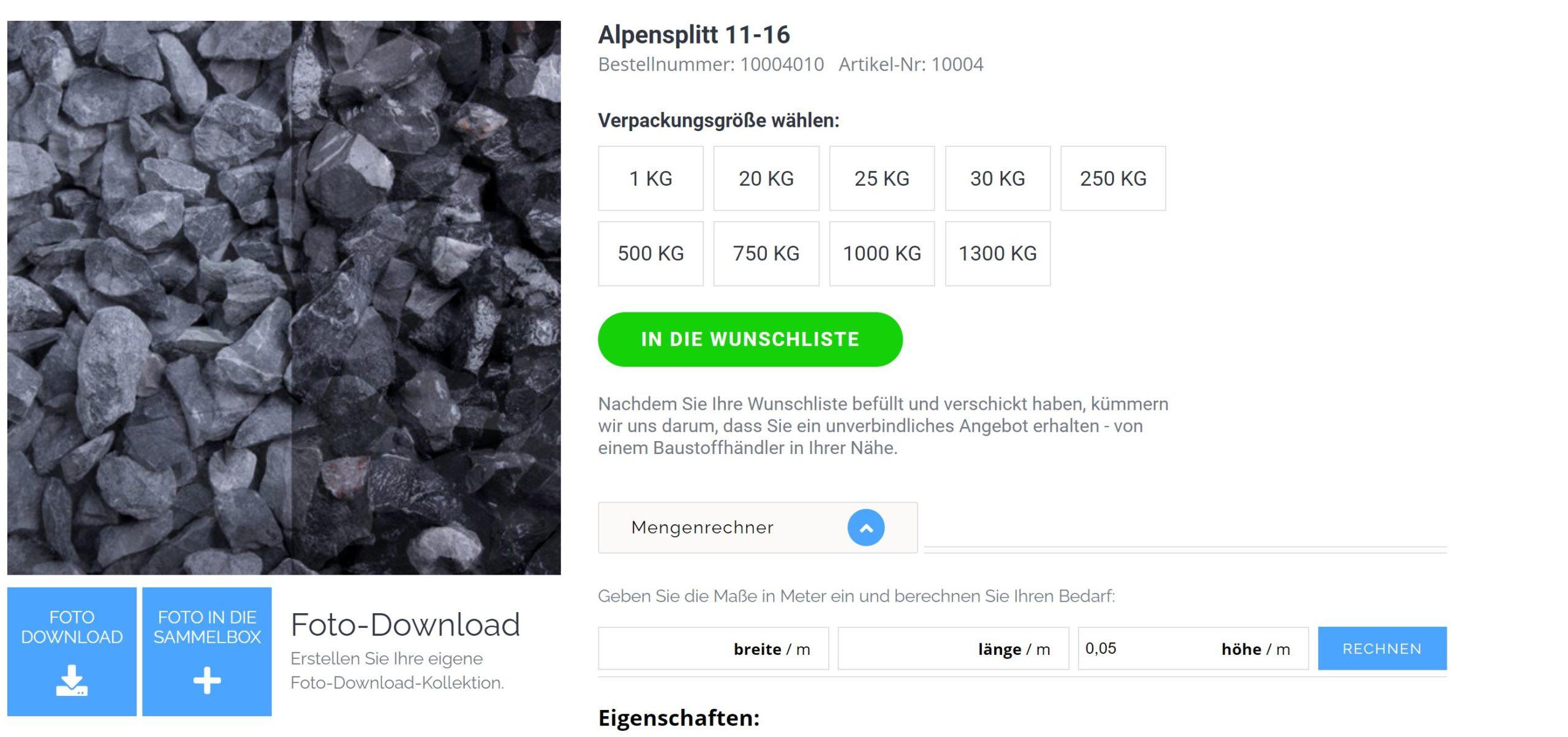 Kies kaufen Alpensplitt